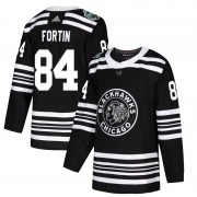 Adidas Chicago Blackhawks 84 Alexandre Fortin Authentic Black 2019 Winter Classic Youth NHL Jersey