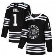 Adidas Chicago Blackhawks 1 Glenn Hall Authentic Black 2019 Winter Classic Youth NHL Jersey