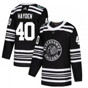 Adidas Chicago Blackhawks 40 John Hayden Authentic Black 2019 Winter Classic Youth NHL Jersey