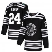 Adidas Chicago Blackhawks 24 Dominik Kahun Authentic Black 2019 Winter Classic Youth NHL Jersey
