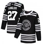 Adidas Chicago Blackhawks 27 Jeremy Langlois Authentic Black 2019 Winter Classic Youth NHL Jersey