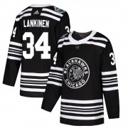 Adidas Chicago Blackhawks 34 Kevin Lankinen Authentic Black 2019 Winter Classic Youth NHL Jersey