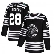 Adidas Chicago Blackhawks 28 Martin Lundberg Authentic Black 2019 Winter Classic Youth NHL Jersey