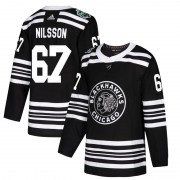 Adidas Chicago Blackhawks 67 Jacob Nilsson Authentic Black 2019 Winter Classic Youth NHL Jersey