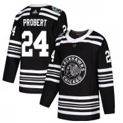 Adidas Chicago Blackhawks 24 Bob Probert Authentic Black 2019 Winter Classic Youth NHL Jersey