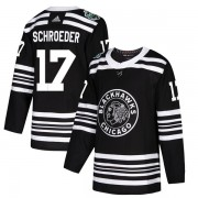 Adidas Chicago Blackhawks 17 Jordan Schroeder Authentic Black 2019 Winter Classic Youth NHL Jersey