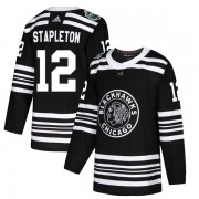 Adidas Chicago Blackhawks 12 Pat Stapleton Authentic Black 2019 Winter Classic Youth NHL Jersey