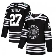 Adidas Chicago Blackhawks 27 Darryl Sutter Authentic Black 2019 Winter Classic Youth NHL Jersey