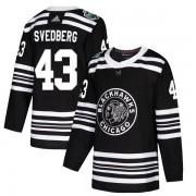 Adidas Chicago Blackhawks 43 Viktor Svedberg Authentic Black 2019 Winter Classic Youth NHL Jersey