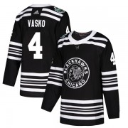 Adidas Chicago Blackhawks 4 Elmer Vasko Authentic Black 2019 Winter Classic Youth NHL Jersey