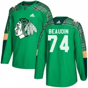 Adidas Chicago Blackhawks 74 Nicolas Beaudin Authentic Green ized St. Patrick's Day Practice Men's NHL Jersey