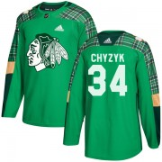 Adidas Chicago Blackhawks 34 Bryn Chyzyk Authentic Green St. Patrick's Day Practice Men's NHL Jersey