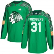 Adidas Chicago Blackhawks 31 Anton Forsberg Authentic Green St. Patrick's Day Practice Men's NHL Jersey