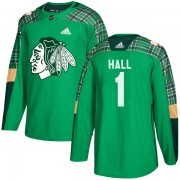 Adidas Chicago Blackhawks 1 Glenn Hall Authentic Green St. Patrick's Day Practice Men's NHL Jersey