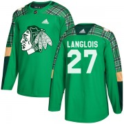 Adidas Chicago Blackhawks 27 Jeremy Langlois Authentic Green St. Patrick's Day Practice Men's NHL Jersey
