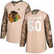 Adidas Chicago Blackhawks 50 Corey Crawford Authentic Camo Veterans Day Practice Youth NHL Jersey