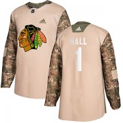 Adidas Chicago Blackhawks 1 Glenn Hall Authentic Camo Veterans Day Practice Youth NHL Jersey
