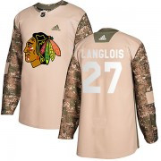 Adidas Chicago Blackhawks 27 Jeremy Langlois Authentic Camo Veterans Day Practice Youth NHL Jersey
