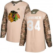 Adidas Chicago Blackhawks 34 Kevin Lankinen Authentic Camo Veterans Day Practice Youth NHL Jersey