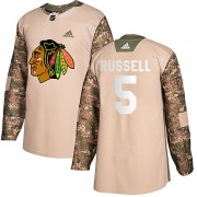 Adidas Chicago Blackhawks 5 Phil Russell Authentic Camo Veterans Day Practice Youth NHL Jersey