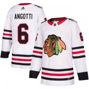 Adidas Chicago Blackhawks 6 Lou Angotti Authentic White Away Men's NHL Jersey