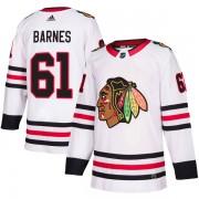 Adidas Chicago Blackhawks 61 Tyler Barnes Authentic White Away Men's NHL Jersey