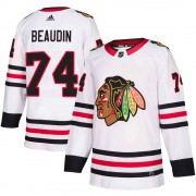 Adidas Chicago Blackhawks 74 Nicolas Beaudin Authentic White ized Away Men's NHL Jersey