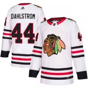 Adidas Chicago Blackhawks 44 John Dahlstrom Authentic White Away Men's NHL Jersey