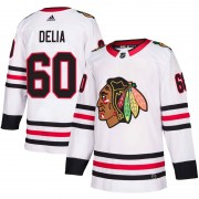 Adidas Chicago Blackhawks 60 Collin Delia Authentic White Away Men's NHL Jersey