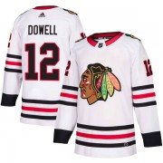 Adidas Chicago Blackhawks 12 Jake Dowell Authentic White Away Men's NHL Jersey