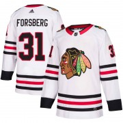 Adidas Chicago Blackhawks 31 Anton Forsberg Authentic White Away Men's NHL Jersey