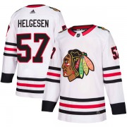 Adidas Chicago Blackhawks 57 Kenton Helgesen Authentic White Away Men's NHL Jersey