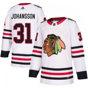 Adidas Chicago Blackhawks 31 Lars Johansson Authentic White Away Men's NHL Jersey