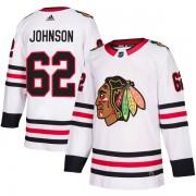 Adidas Chicago Blackhawks 62 Luke Johnson Authentic White Away Men's NHL Jersey