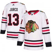 Adidas Chicago Blackhawks 13 Tomas Jurco Authentic White Away Men's NHL Jersey