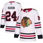 Adidas Chicago Blackhawks 24 Dominik Kahun Authentic White Away Men's NHL Jersey