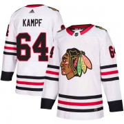 Adidas Chicago Blackhawks 64 David Kampf Authentic White Away Men's NHL Jersey