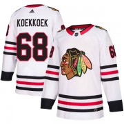 Adidas Chicago Blackhawks 68 Slater Koekkoek Authentic White Away Men's NHL Jersey