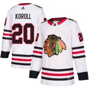 Adidas Chicago Blackhawks 20 Cliff Koroll Authentic White Away Men's NHL Jersey