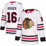 Adidas Chicago Blackhawks 16 Marcus Kruger Authentic White Away Men's NHL Jersey