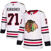 Adidas Chicago Blackhawks 71 Philipp Kurashev Authentic White ized Away Men's NHL Jersey