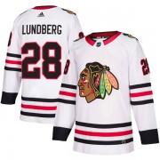 Adidas Chicago Blackhawks 28 Martin Lundberg Authentic White Away Men's NHL Jersey