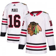 Adidas Chicago Blackhawks 16 Chico Maki Authentic White Away Men's NHL Jersey