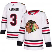 Adidas Chicago Blackhawks 3 Dave Manson Authentic White Away Men's NHL Jersey