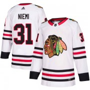 Adidas Chicago Blackhawks 31 Antti Niemi Authentic White Away Men's NHL Jersey