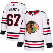 Adidas Chicago Blackhawks 67 Jacob Nilsson Authentic White Away Men's NHL Jersey