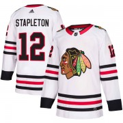 Adidas Chicago Blackhawks 12 Pat Stapleton Authentic White Away Men's NHL Jersey