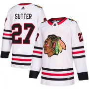 Adidas Chicago Blackhawks 27 Darryl Sutter Authentic White Away Men's NHL Jersey