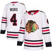Adidas Chicago Blackhawks 4 Elmer Vasko Authentic White Away Men's NHL Jersey