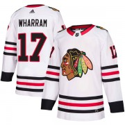 Adidas Chicago Blackhawks 17 Kenny Wharram Authentic White Away Men's NHL Jersey
